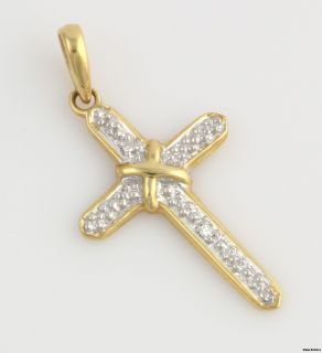 Genuine Diamond Cross Pendant 18K Yellow White Gold Religious