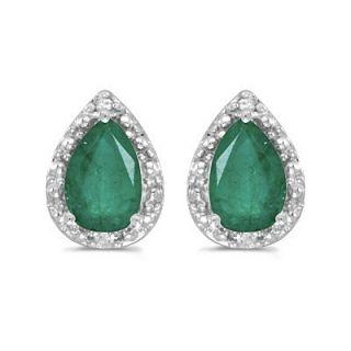 4ct Pear Emerald Diamond Stud Earrings 14k w Gold