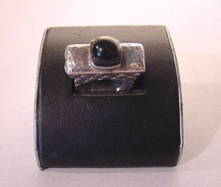 Stunning Dian Malouf 1997 Sterling Silver Onyx Ring Signed Dated Size