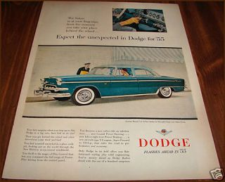 1955 Dodge Custom Royal V 8 4 Dr Sedan 2 Tone Green Ad