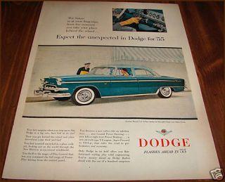 1955 Dodge Custom Royal V 8 4 Dr Sedan 2 Tone Green Ad