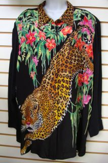 DIANE GILMAN Black Leopard w/ Sequnece & Flowers SILK SHIRT Plus Sz 3X