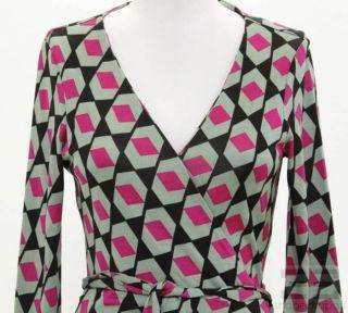 Diane Diane von Furstenberg Black Green & Pink Print Silk Wrap Dress