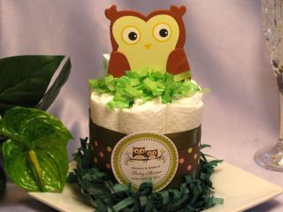 BABY OWL mini diaper cake centerpieces baby shower Look Whoos having a