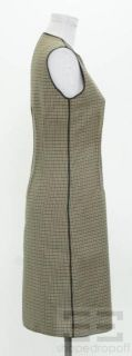 Derek Lam Tan,Green & Black Wool Houndstooth Sleeveless Shift Dress Sz