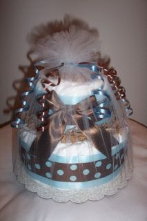 Mod Boy 2 Tier Diaper Cake Boy Baby Shower