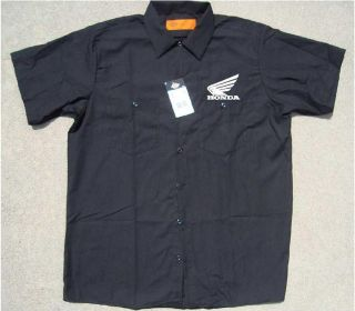 Honda Motorcycle Dickies Button Up Work Shirt Short Sleeve Mechanic