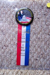 USA PRESIDENTIAL INAUGURATION BUTTON PIN RIBBON 55TH GEORGE BUSH