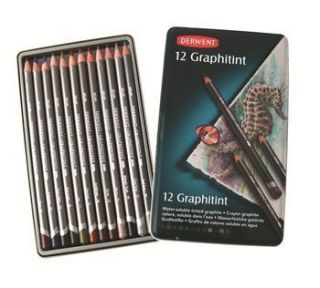 New DERWENT 12 GRAPHITINT Water soluble TInted Graphite Pencils Top