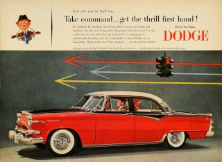 1955 Ad Dodge Custom Royal Lancer Car Antique Stoplight   ORIGINAL