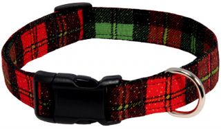 Christmas Red Plaid Designer Handmade Dog Collar