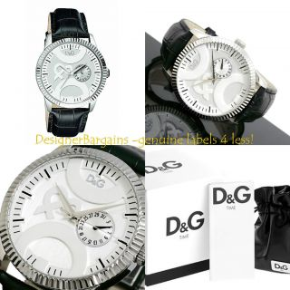 NEW D G Dolce Gabbana Mens Twin Tip Silver Date Black Strap Watch
