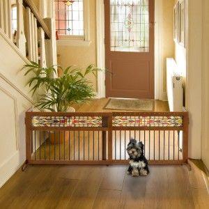 FREESTANDING EXPANDABLE WOODEN PET DOG GATE FENCE MISSION AZTEC R941