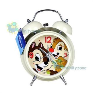 Disney Chip Dale Twin Bell Alarm Desktop Clock w Light B NEW