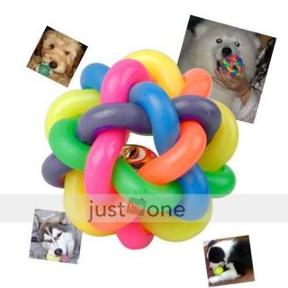 Pet Dog Cat Toy Colorful Rubber Round Ball Fun Play Toy
