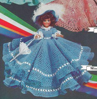 Vintage Crochet Pattern 8 Doll Clothes Dress Hat Umbrella Petticoat