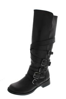 Dolce New Ringer Black Multi Buckle Belted Knee High Motorcycle Boots