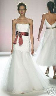 Monique Lhuillier Seraphina Lace Wedding Gown Dress Ivory Mermaid Size