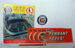 1968 Detroit Tigers World Series Program Pencil Bumper Sticker Decal