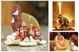 Christmas Nativity Candle Holder Ceramic Scupture Peru