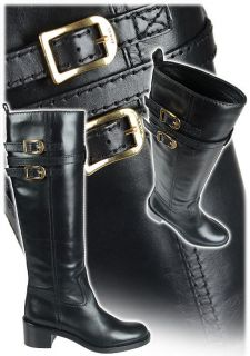 Gucci Devendra Iconic Black Gold Logo Buckle Tall Riding Boots Boots
