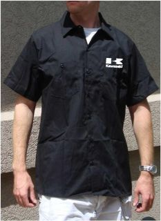 Kawasaki Dickies Button Up Work Shirt Short Sleeve Motorcycle Mechanic