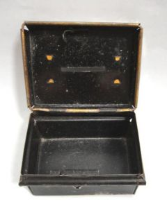antique ORIG. MINI METAL CASH BOX~DIME BANK w/LOCK salesman sample