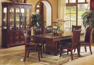 Seven Piece Dark Birch Wood Dining Table Chairs Set New