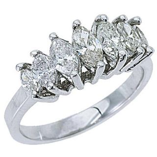 28 Carat Womens Marquise Cut 7 Stone Diamond Ring Wedding Band White