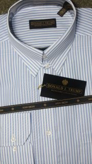 Donald Trump Tab Collar White Shirt w Blue Stripe Shirt