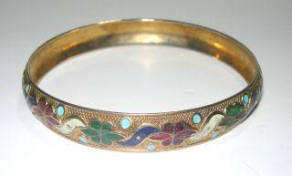 Vintage Art Deco Chinese Enamel Floral Bangle Bracelet