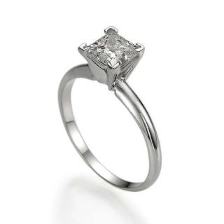 CT PRINCESS CUT SOLITAIRE NATURAL DIAMOND BRIDAL RING 14K WHITE GOLD