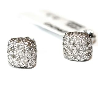 Square Cushion Shape Pave Diamond Button Earrings 14 KT White Gold