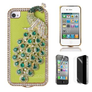 3D Peacock Bling Diamond Crystal PU Leather Case Cover for iPhone 4 4s