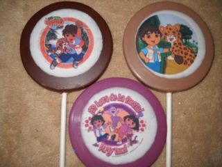 Chocolate Dora, Diego, & Boots Edible Decal Lollipop/Favor