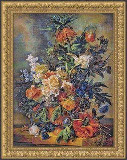 BOUQUET DORE FLOWERS BELGIAN FLORAL TAPESTRY FINE ART 57x45