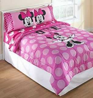 Disney Minnie Mouse Pink Polka Dots Full Comforter Sheets 5pc Bedding