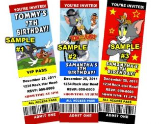 Tom and Jerry Birthday Party Ticket Invitations 84¢ Ea