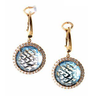 Zoccai 18K Rose Gold Topaz Diamond Drop Earrings