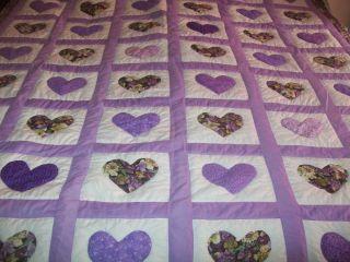 Handmade Heart Quilt Purples Lavenders Floral Print