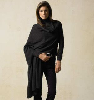 NWT DKNY DONNA KARAN BLACK COZY CASHMERE LONG CARDIGAN WRAP SWEATER M