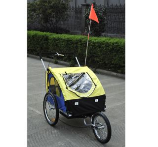 New 2in1 Double Kids Baby Bike Bicycle Trailer Stroller Jogger Yellow