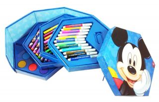 New Disney Mickey Mouse 12 Color Pencil Marker Wax Crayon Paint