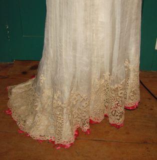 Jacques Doucet French Couture Edwardian Titanic Era Lace Dress