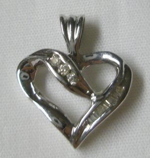 10K Solid White Gold Diamond Heart Pendant