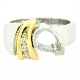 14k Pear Shaped Setting Diamond Semi Mount Ring 0 16 cts SI1 G 7 x 5mm