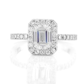 Emerald Cut Pave Diamond Halo Engagement Ring Set GIA 18k White Gold