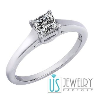 SI2 Solitaire Princess Cut Diamond Engagement Ring 14k White Gold