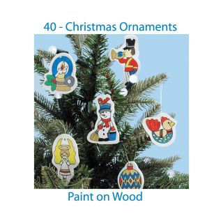 Wood Christmas Ornaments Unfinished Wooden DIY 40 pc Kit Set Your Own
