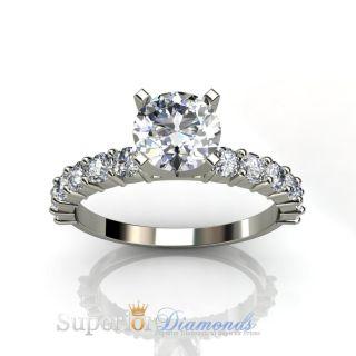 55 Carat Round Diamond Solitaire Ring vs 14k White Gold